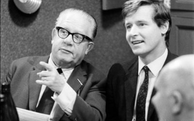 1968: Coronation Street veteran William Roache, rehearses a scene with Jack Howarth (pictured)