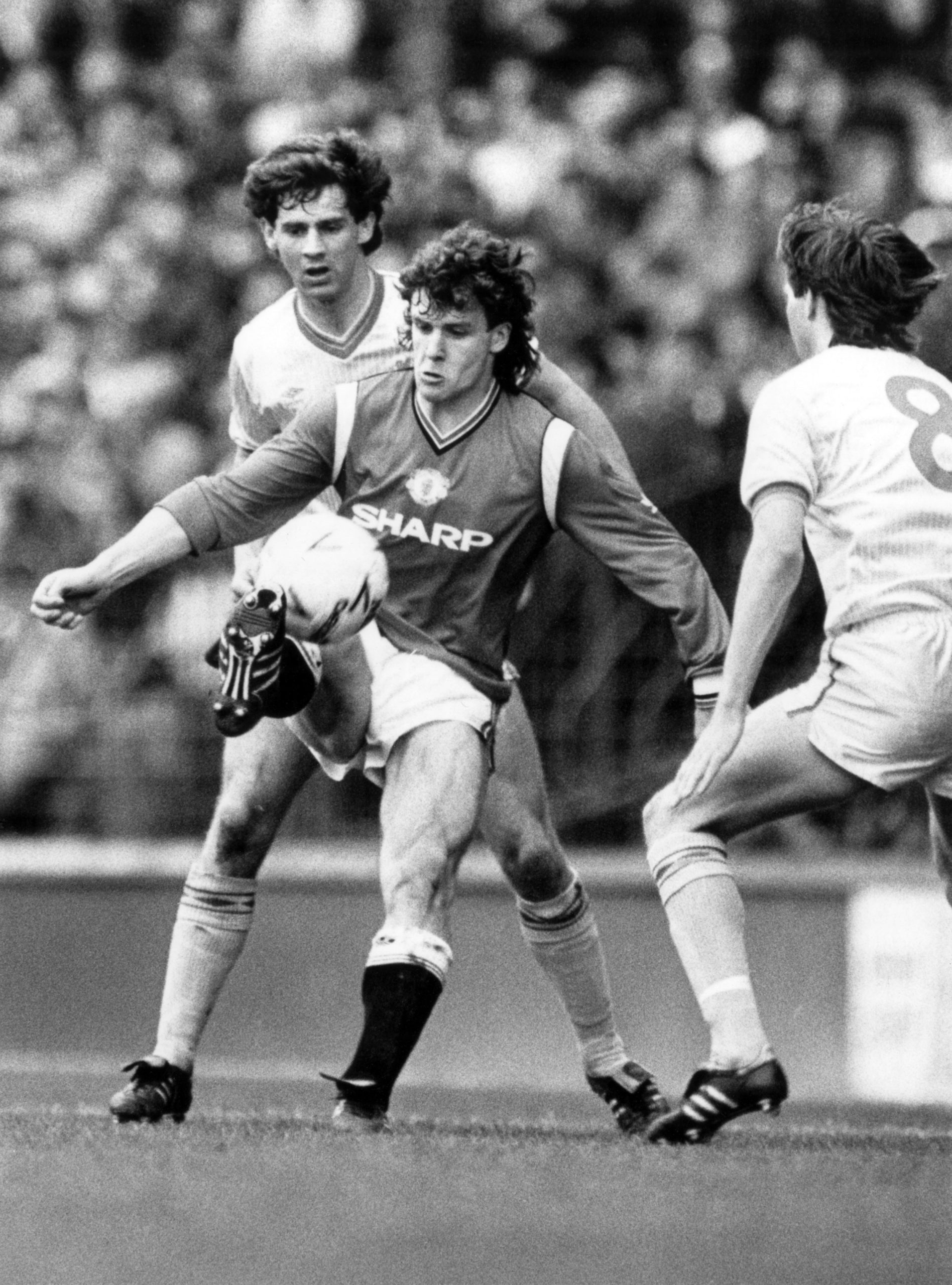 1985: Mark Hughes at Goodison Park in a tense FA Cup Semi Final – Pictured