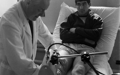 1968: Manchester United defender Tony Dunne gets some last minute treatment before the semi-finals (pictured)