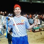 Man-of-the-Match Brian McClair proudly displays the League Cup at Wembley, April 1992