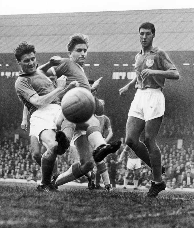 Dave Hickson, centre, playing for Everton against Portsmouth, January 1960