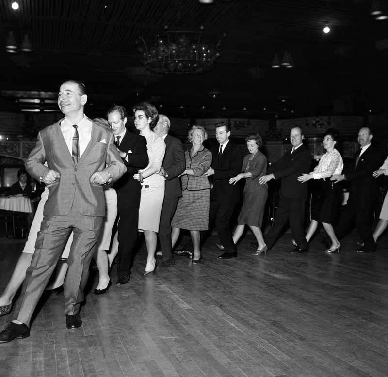 Joe Loss, whose orchestra included Elvis Costello's father, leads the latest dance craze, October 1964