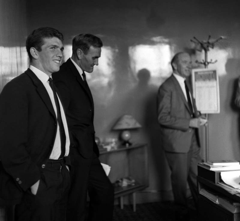 Johnny Giles, left, about to sign for Leeds with Don Revie and Matt Busby, September 1963