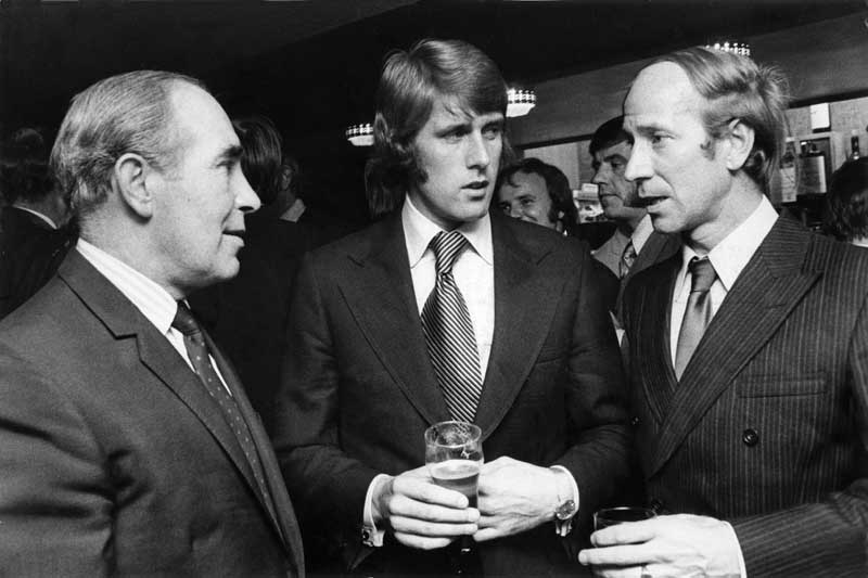 England colleagues Sir Alf Ramsey, Geoff Hurst and Bobby Charlton reunited, September 1972
