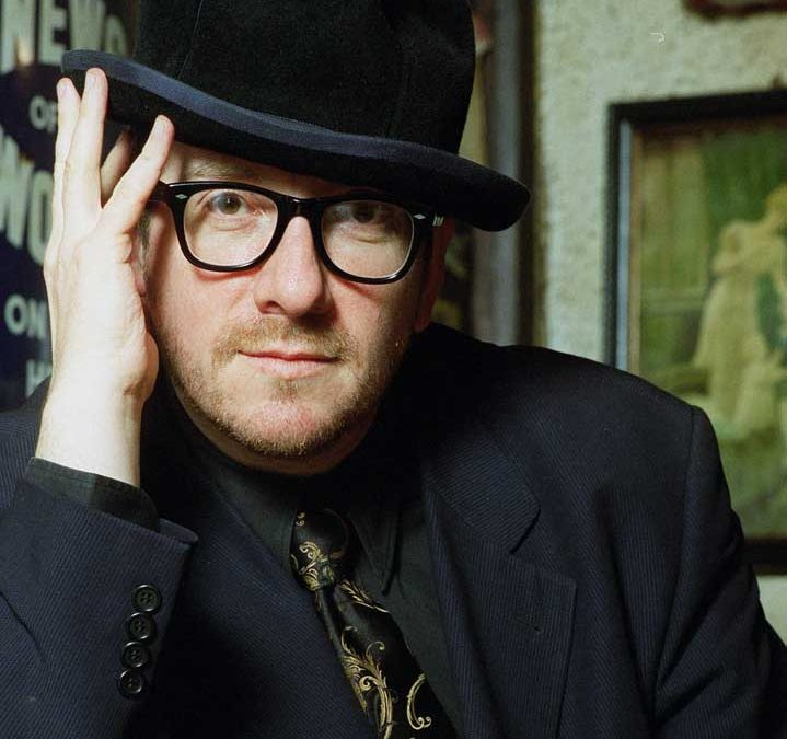 A relaxed Elvis Costello pictured in his local pub, April 1999