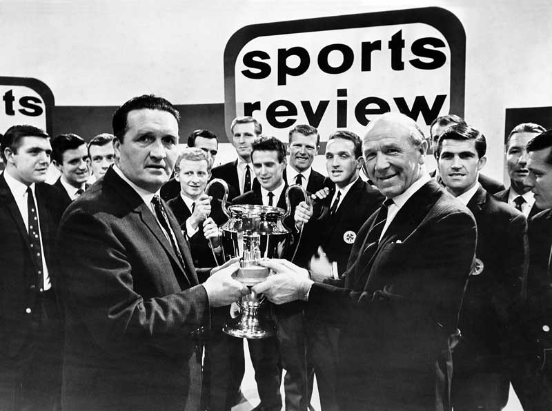 Celtic manager Jock Stein receives the Team of the Year award from Sir Matt Busby, December 1967