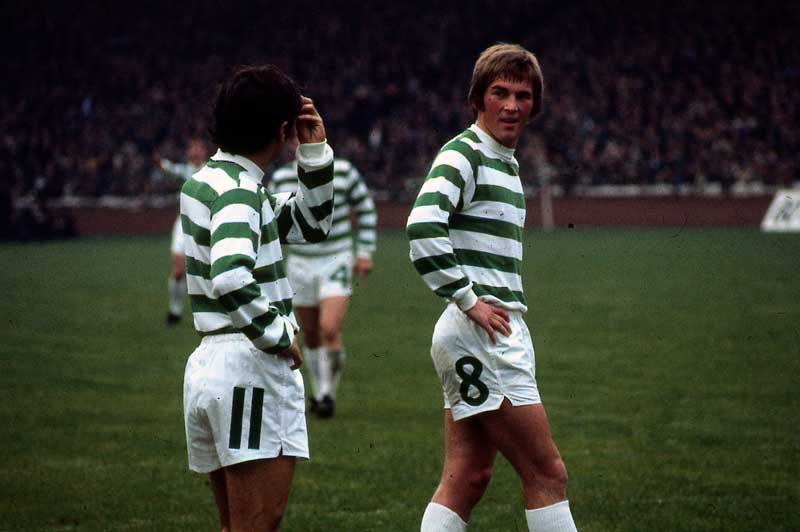 Kenny Dalglish, right, and Lou Macari playing for Celtic, October 1971