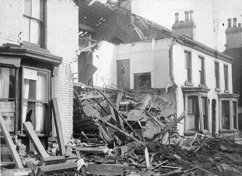A house in Stamford Street, Edge Hill, destroyed by Luftwaffe bombs, September 1940