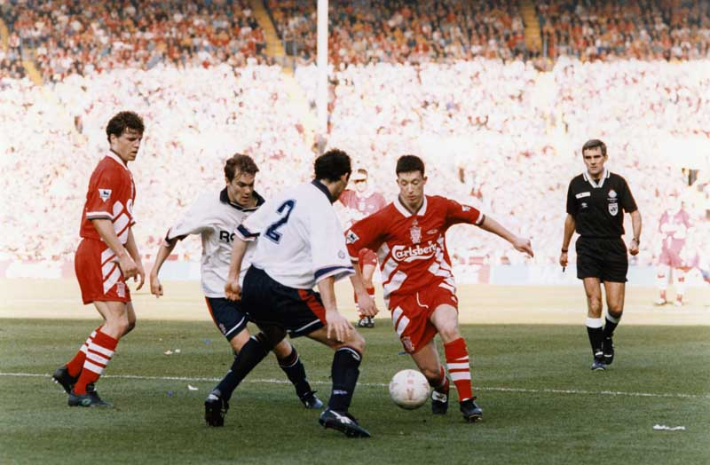 Future Manchester United star Denis Irwin playing for Oldham in the League Cup Final, April 1990