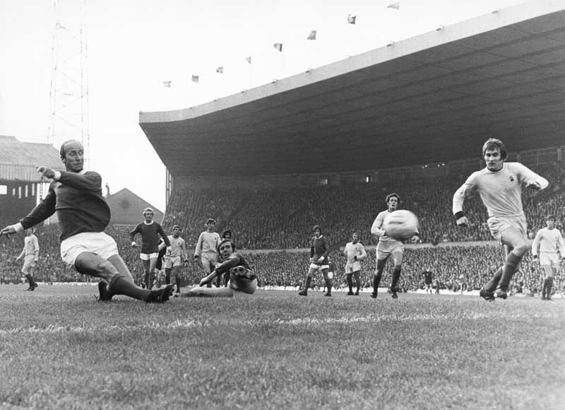 Bobby Charlton scores in United's 2-0 victory over Coventry City, September 1970