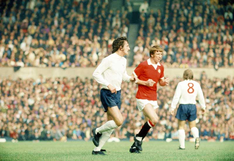 Wyn Davies, centre, who made his United debut at Bobby Charlton's testimonial, September 1972