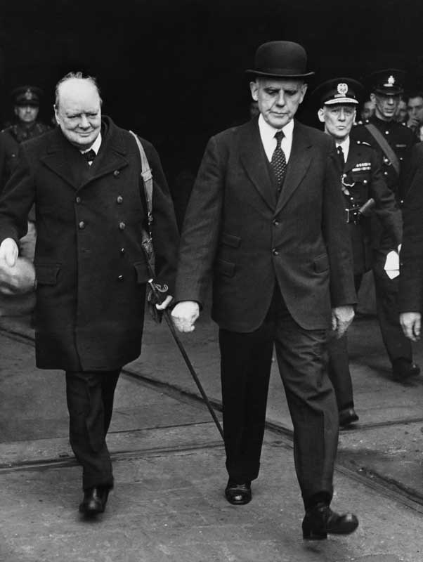 Winston Churchill visits the Cammell Laird shipyard in Birkenhead, April 1941