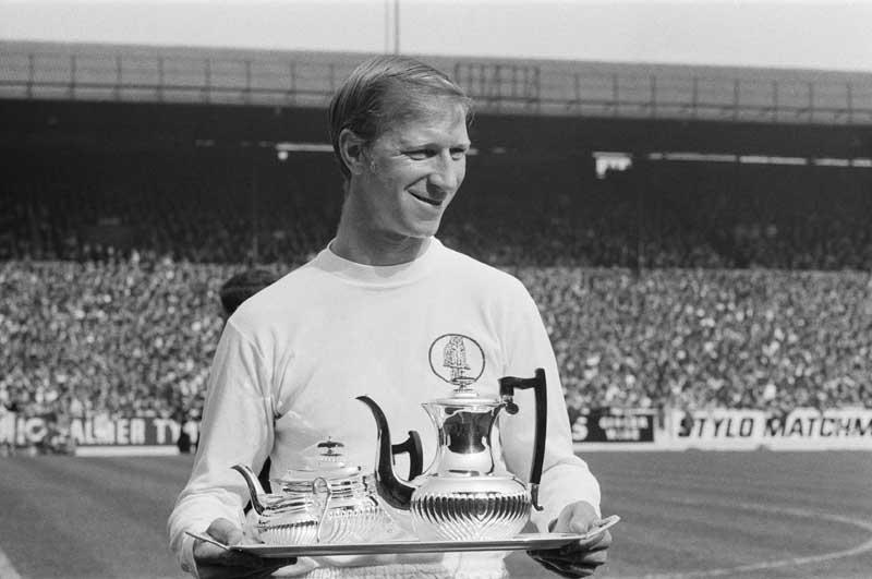 Jack Charlton for Leeds United, at Elland Road, Leeds, celebrating his 500 appearance for the club