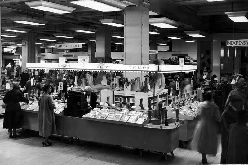 The interior of the Lewis's department store in Manchester. Our picture shows the stocking department. 17th September 1957