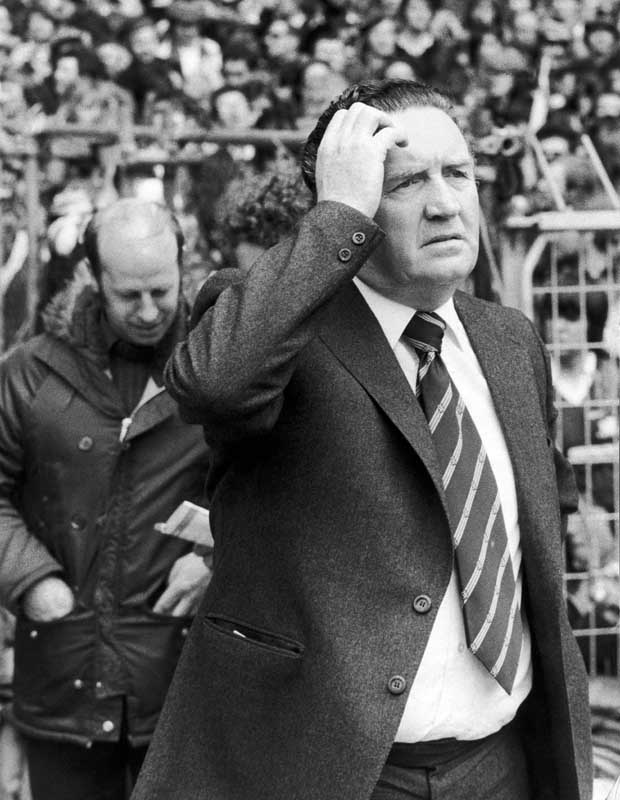 Scotland manager Jock Stein is not amused after Steve Coppell scores for England, May 1979