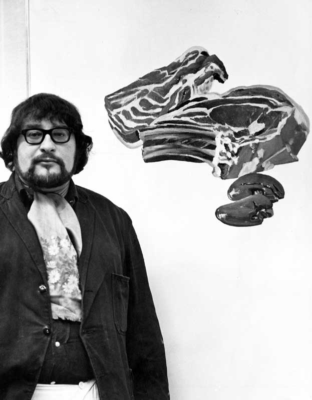 Adrian Henri and his work entitled Meat Painting II, January 1968