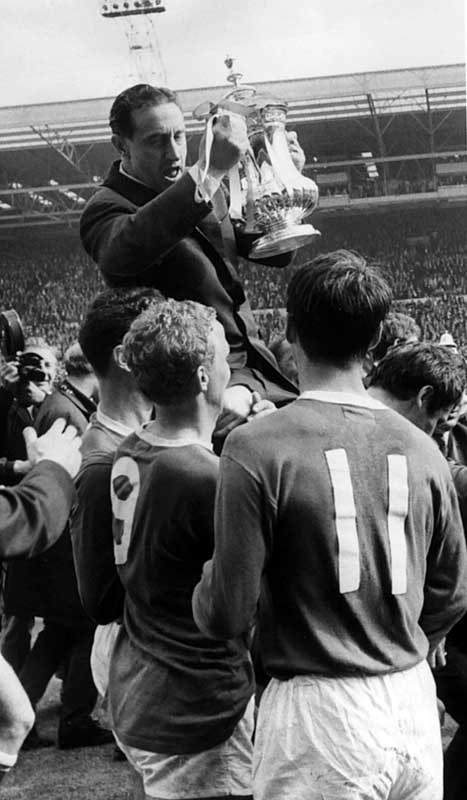 Everton manager Harry Catterick is hoisted shoulder-high with the FA Cup at Wembley, May 1966