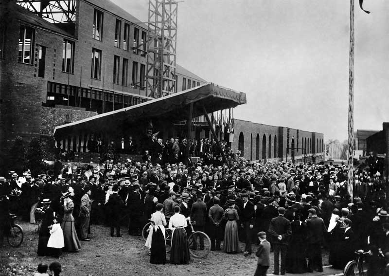 Laying the foundation stone of the Westinghouse factory main office in Trafford Park