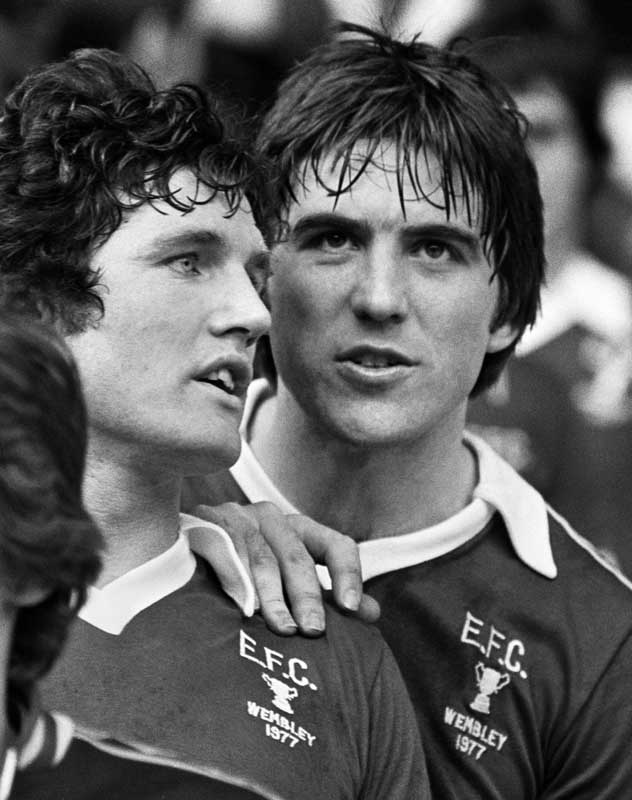 Everton's Mick Lyons and Bob Latchford after the League Cup Final, March 1977