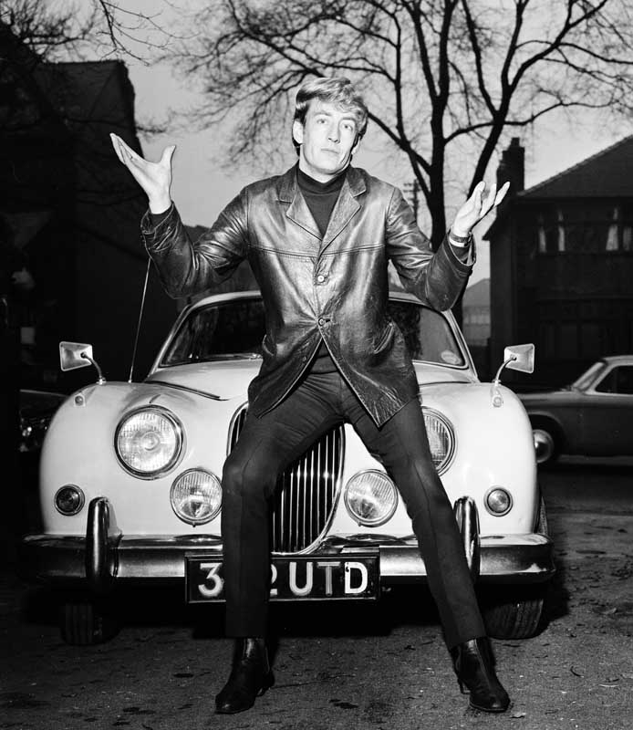 Trappings of fame - Rory Storm posing with a Jaguar, November 1965