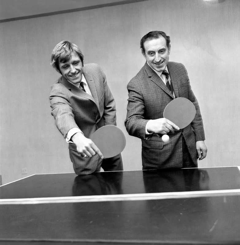 New Everton signing Keith Newton playing table tennis with Harry Catterick, December 1969