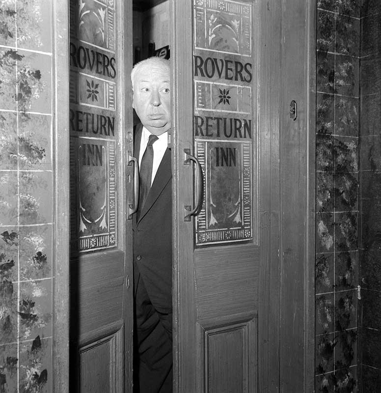 Alfred Hitchcock visits the Rovers Return on the Coronation Street set, June 1964