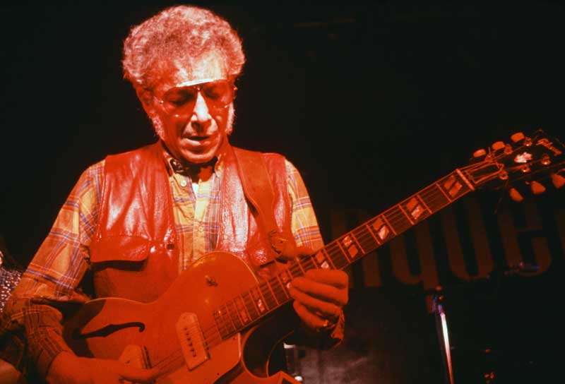 Blues musician Alexis Korner on stage, January 1984