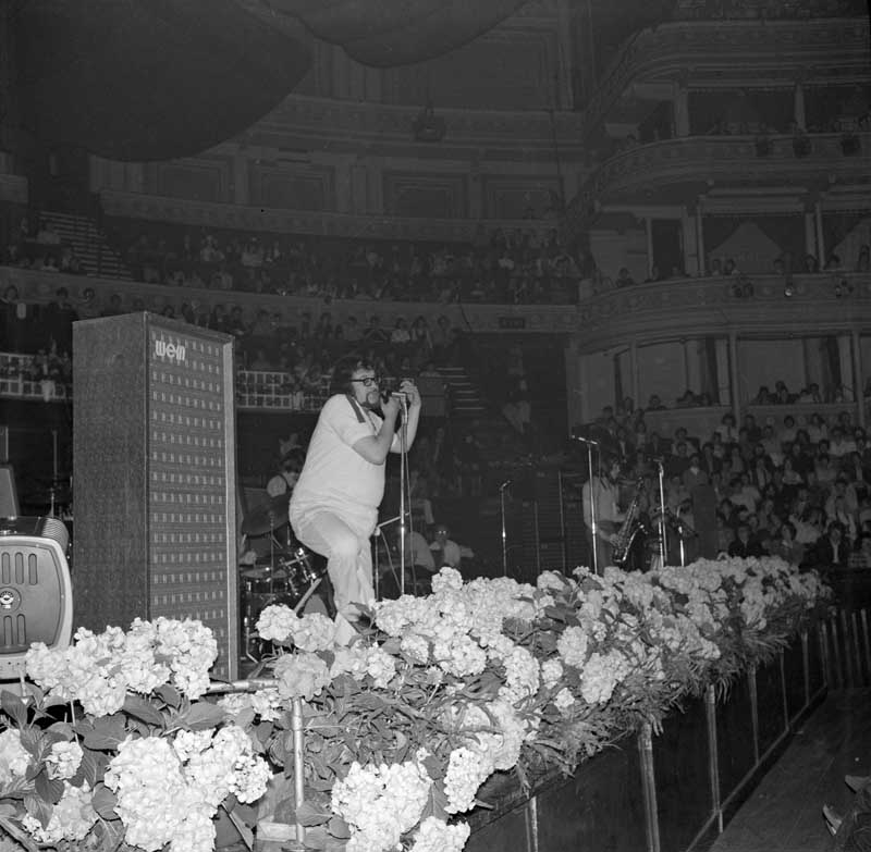 Adrian Henri and the Liverpool Scene performing at the Albert Hall, June 1969
