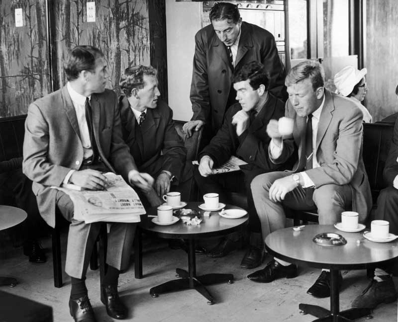 Everton players Ray Wilson, Sandy Brown, Alex Scott and Jimmy Gabriel with Harry Catterick at Speke Airport, August 1965
