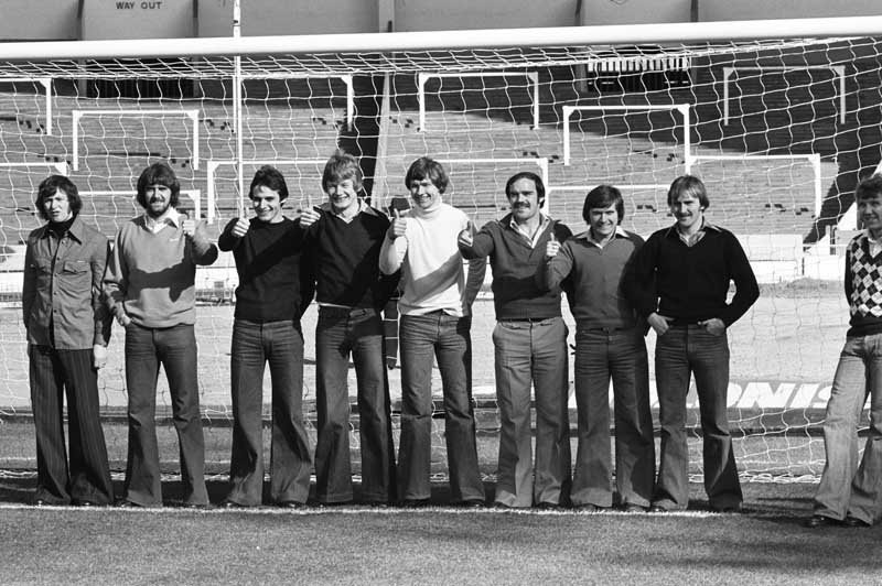 Everton players lined up at Wembley are, from left, George Telfer, Roger Kenyon, David Jones, Ken McNaught, David Lawson, Terry Darracott and Mike Bernard on the post