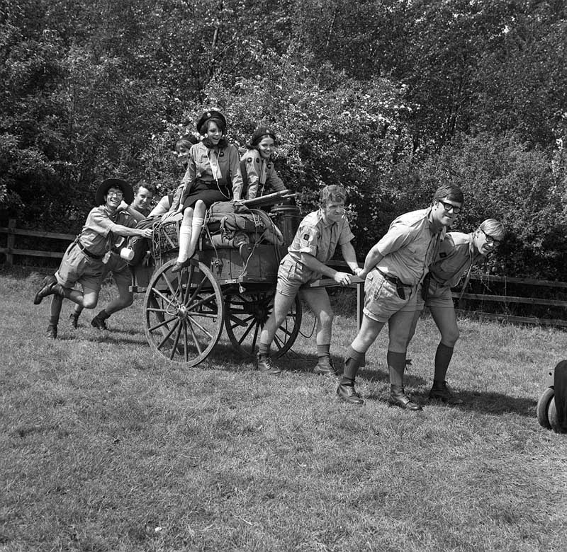 Pushing a cart full of scouting kit in the movie The Cuckoo Patrol, May 1965