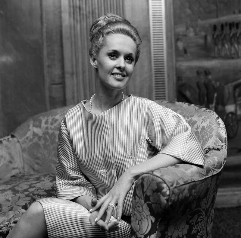 Tippi Hedren, who appeared in the film version of Winston Graham's novel Marnie, March 1966