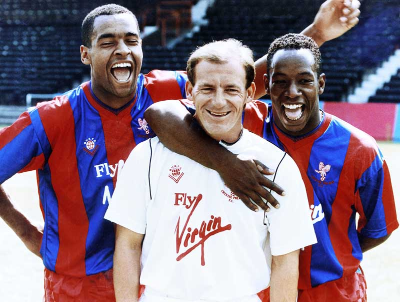 Crystal Palace manager Steve Coppell with Mark Bright and Ian Wright, July 1989