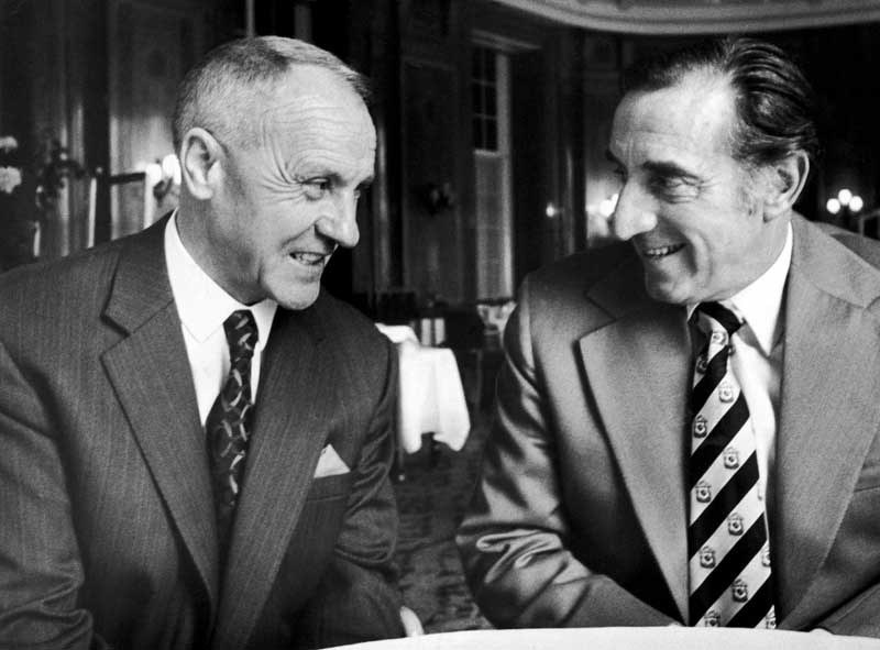 Former managers Bill Shankly and Harry Catterick meet at the Adelphi Hotel, October 1975
