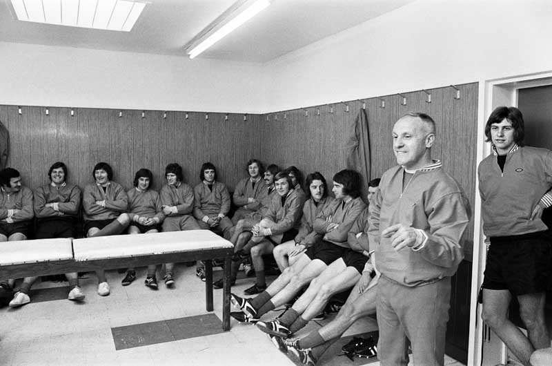 Manager Bill Shankly takes charge of pre-season training at Melwood, July 1972