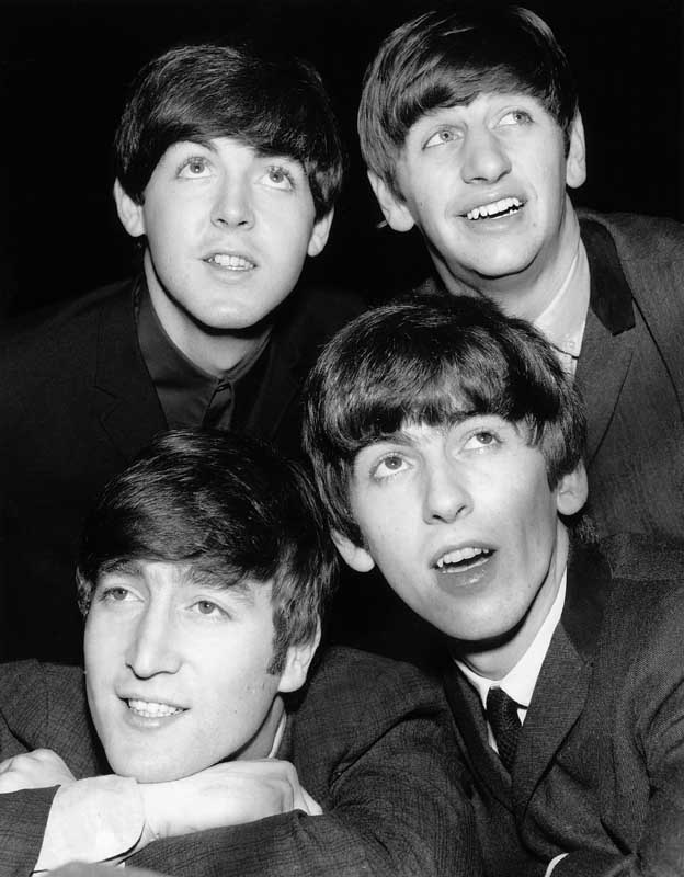 An early press photo of the Beatles, February 1963