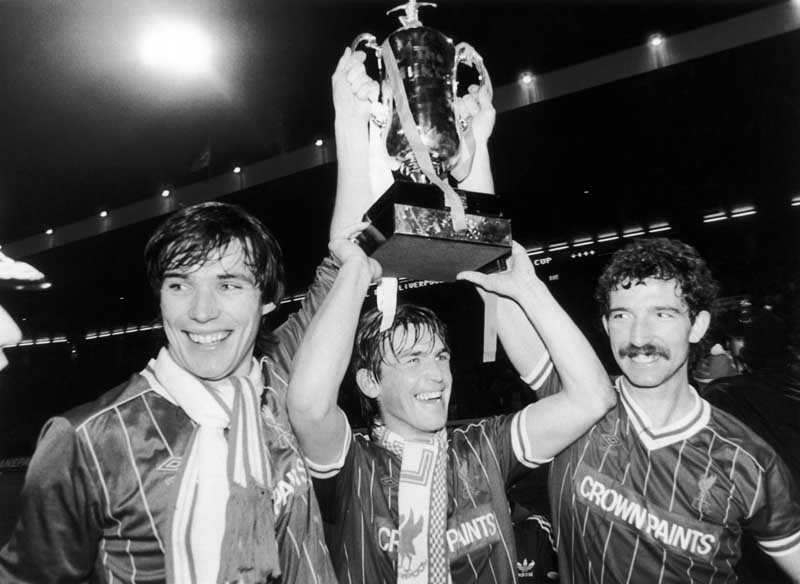 Alan Hansen, Kenny Dalglish and Graeme Souness with the League Cup, March 1984