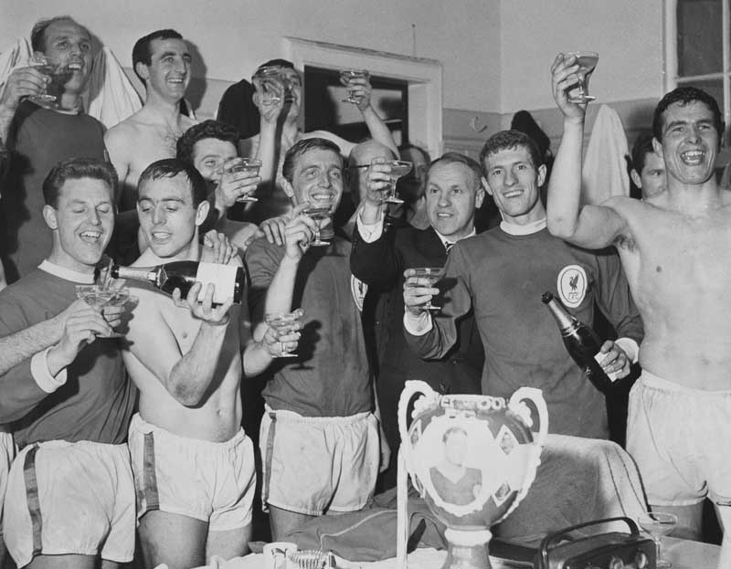 Bill Shankly and his team celebrate beating Arsenal at Anfield to clinch the league title, April 1964