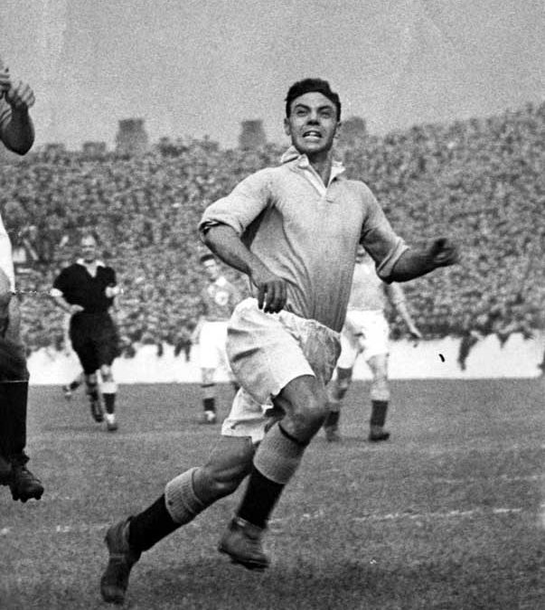 Joe Fagan in action for City in the 4-0 away defeat at Liverpool, November 1949