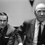 Matt Busby, right, announces Wilf McGuinness as the next United manager, April 1969