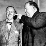 Laurel and Hardy on tour in Manchester in 1952