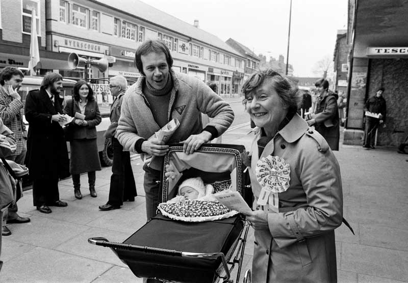Shirley Williams meets Crosby constituents old and (very) young, November 1981