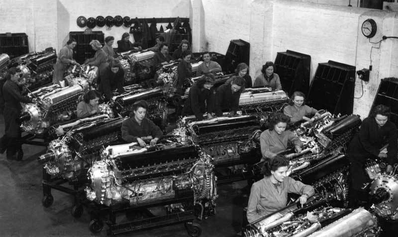 Rolls Royce Merlin engines at the Ford shadow factory in Eccles, February 1942