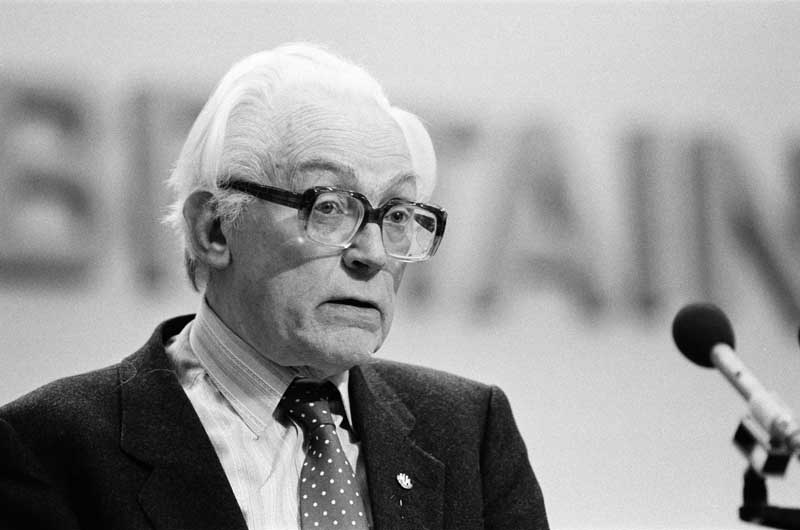Labour party leader Michael Foot, October 1980