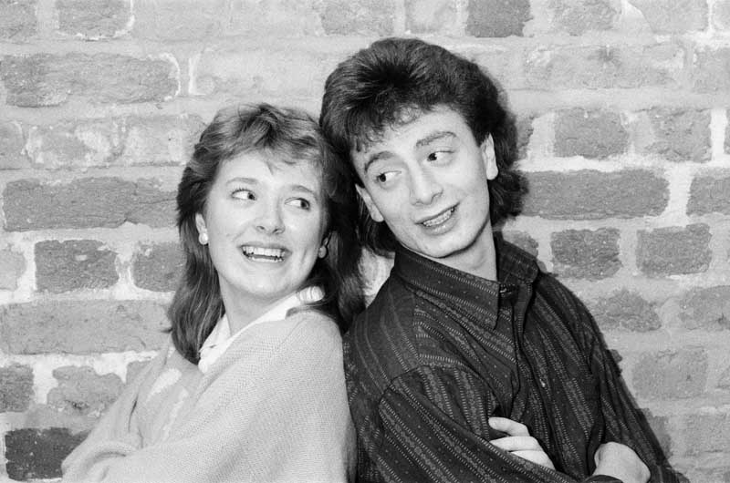 Actors Sean Wilson and Sally Ann Matthews pictured together in a 1986 Coronation Street photoshoot.