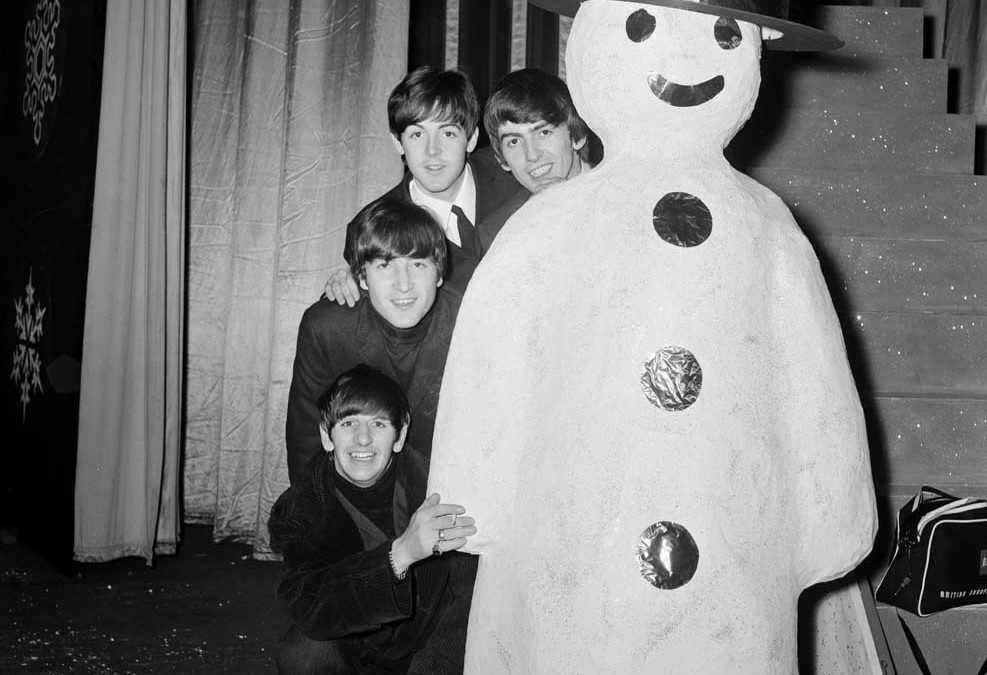 A snowman takes centre stage during rehearsals for the Beatles' Christmas show, December 1963