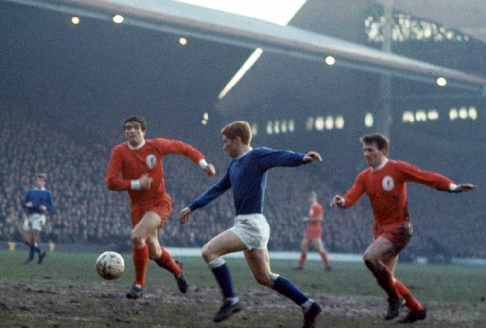 Liverpool defenders Ron Yeats and Tommy Smith close down Everton midfielder Alan Ball, December 1966