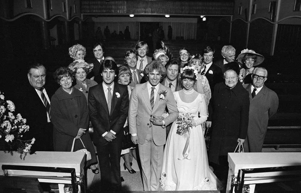 Brian and Gail's wedding – Bill Tarmey's first appearance on the Street, November 1979