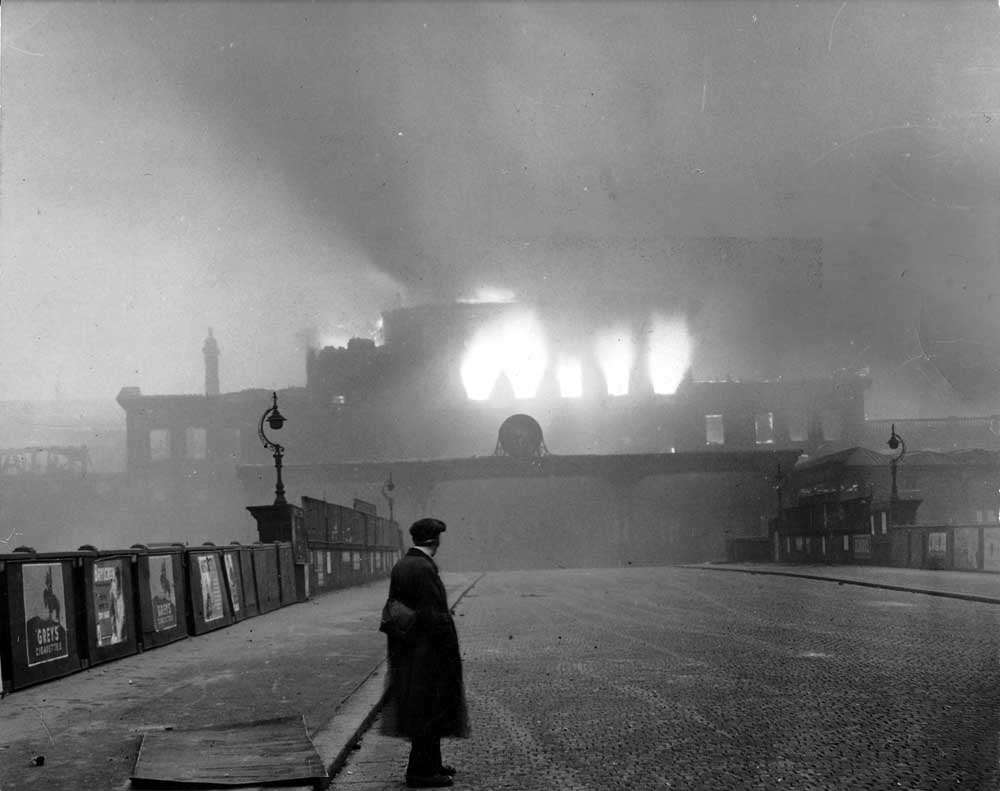 This image of the Exchange Station ablaze in the early hours of Monday December 23rd was initially banned by the censor