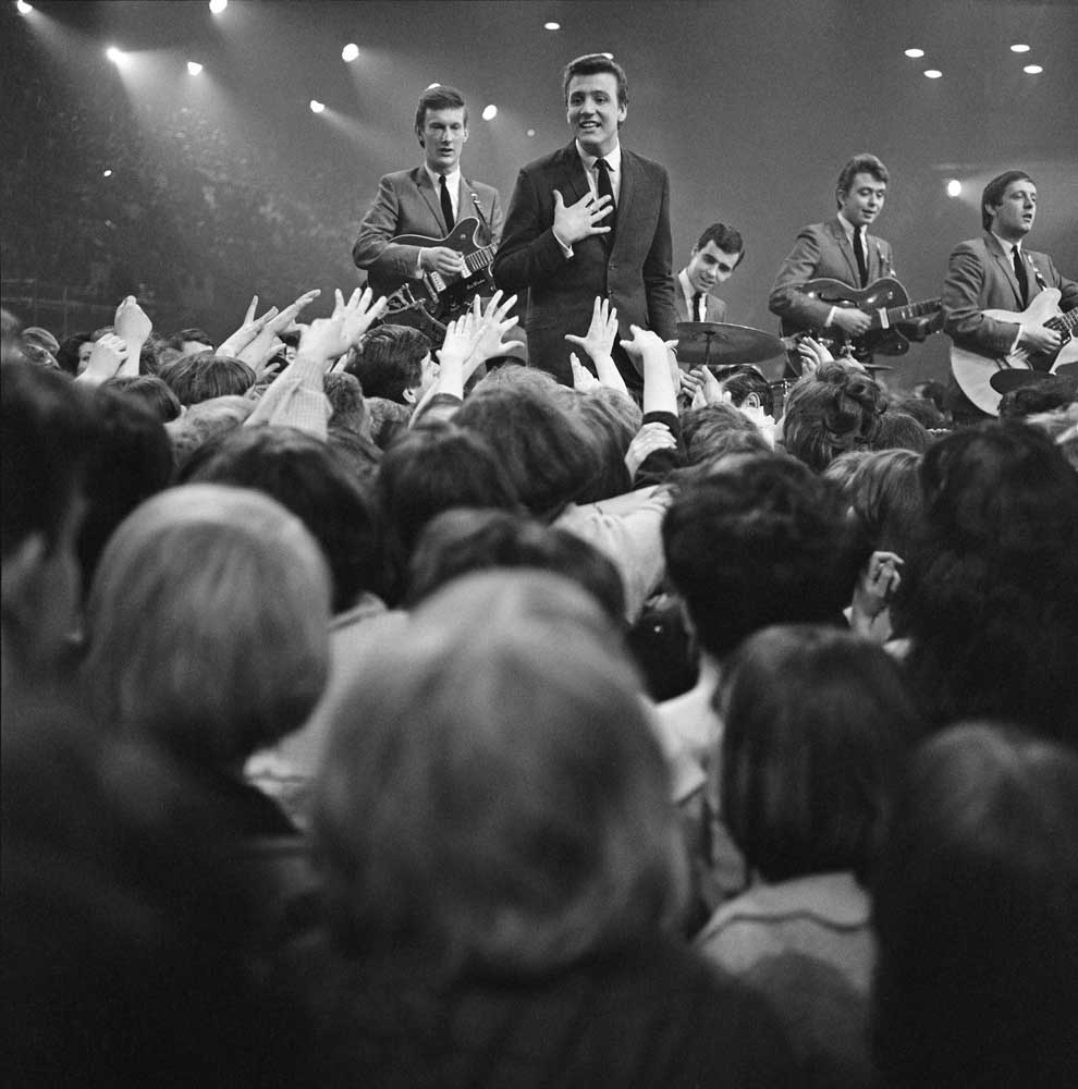 Billy J. Kramer and the Dakotas being filmed for Ready Steady Go, April 1964
